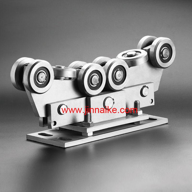 Rodillo de carro de puerta en voladizo ajustable (10 ruedas, para riel de 80x80)