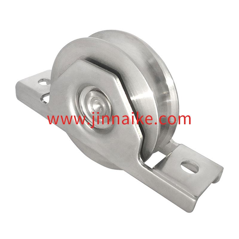 Rueda de puerta corrediza con soporte exterior (Cojinete único, ranura en U, acero inoxidable 403)